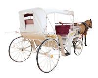 La retrovisione della cabina del trasporto di fiaba del cavallo ha isolato la parte posteriore di bianco Fotografie Stock Libere da Diritti