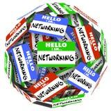 La reunión de la esfera de la bola de la etiqueta engomada de la etiqueta del nombre del establecimiento de una red saluda nuevo O Fotografía de archivo libre de regalías