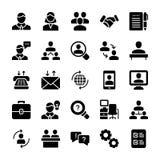 La reunión, iconos sólidos del lugar de trabajo embala ilustración del vector