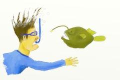 La reunión inesperada subacuática Libre Illustration