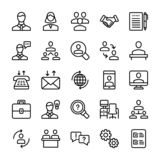 La reunión, línea iconos del lugar de trabajo embala ilustración del vector
