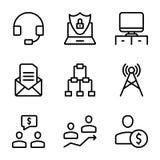 La reunión, lugar de trabajo, línea de comunicación empresarial iconos embala ilustración del vector