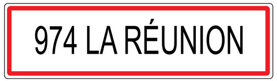 974 La Reunion city traffic sign illustration in France Royalty Free Stock Photos