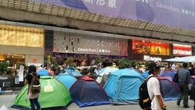La revolución 2014 del paraguas de las protestas de Nathan Road Occupy Mong Kok Hong Kong ocupa la central Imagen de archivo libre de regalías