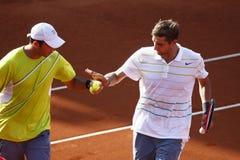 La RFA ouvrent la finale de 2013 doubles : Horia Tecau/Max Mirnii contre Dlouhy/Marach Image libre de droits