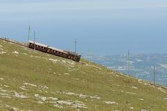 La Rhune cog train. Antique wooden train in France Stock Photos