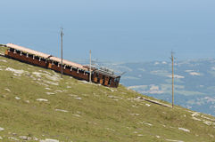 La Rhune cog train. Antique wooden train in France Royalty Free Stock Photo
