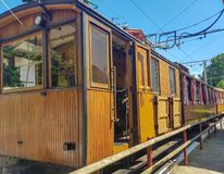 LA RHUNE, FRANCE - march 28, 2019:Rhune Gear Train. Old wooden train and rack railway system in Franci that ascends Mount Larrun,. Border between Spain and stock images