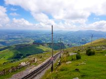 LA RHUNE, FRANCE - march 28, 2019:Rhune Gear Train. Old wooden train and rack railway system in Franci that ascends Mount Larrun,. Border between Spain and stock photos