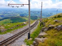 LA RHUNE, FRANCE - march 28, 2019:Rhune Gear Train. Old wooden train and rack railway system in Franci that ascends Mount Larrun,. Border between Spain and stock photography