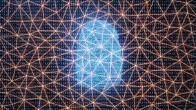 La ricerca dell'impronta digitale consente l'accesso di sicurezza l'identificazione della biometria Protezione dell'impronta digi illustrazione vettoriale
