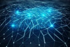 la ricerca dell'impronta digitale dell'illustrazione 3D consente l'accesso di sicurezza l'identificazione della biometria Protezi Immagine Stock Libera da Diritti