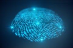 la ricerca dell'impronta digitale dell'illustrazione 3D consente l'accesso di sicurezza l'identificazione della biometria Protezi Immagini Stock