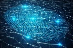 la ricerca dell'impronta digitale dell'illustrazione 3D consente l'accesso di sicurezza l'identificazione della biometria Protezi Fotografie Stock Libere da Diritti