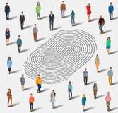 La ricerca di una persona dall'impronta digitale illustrazione vettoriale