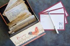 La ricetta della scatola di ricetta carda le ricette d'annata Fotografia Stock Libera da Diritti