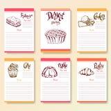 La ricetta soppressione la raccolta Oggetti del dessert con l'iscrizione di alba della mano Illustrazione dell'alimento di vettor Fotografia Stock