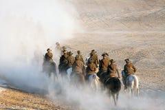 La ricreazione della tassa di cavalleria 100 anni di ANZAC Immagine Stock
