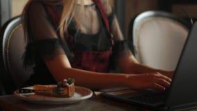 La riflessione della donna di affari degli occhi di Internet messa a fuoco vetri del computer portatile della donna lavorante leg video d archivio