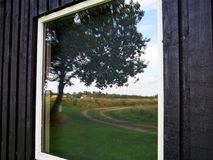 La riflessione di un albero ed il paese parteggiano sulla finestra Fotografia Stock