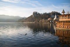 La rimessa per imbarcazioni di legno variopinta dei paesaggi scenici, castello sopra la collina sul lago ha sanguinato in alpi ju Fotografia Stock Libera da Diritti
