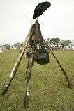 La rimessa in vigore dell'accampamento rivoluzionario di guerra dimostra la vita del campo dell'esercito continentale come compon Fotografia Stock