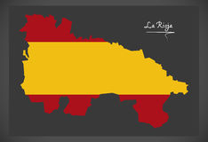 La Rioja map with Spanish national flag illustration. In artwork style Stock Photos
