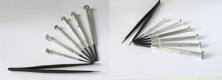 La riparazione dell'orologio foggia i cacciaviti della pinzette Fotografia Stock
