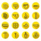 La riparazione domestica ed icone di vettore del nero piano e di giallo della costruzione hanno messo con le ombre Progettazione  Fotografia Stock