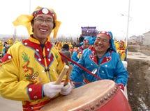 La risata del batterista dei due uomini Fotografia Stock