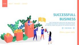 La riuscita gente di affari lavora l'insegna orizzontale royalty illustrazione gratis