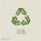 La riutilizzazione, riduce, ricicla il disegno del manifesto. Fotografie Stock Libere da Diritti