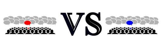 La rivalidad de los dos equipos Imágenes de archivo libres de regalías