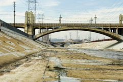 LA RIVER. HDR image of the LA river and bridges Royalty Free Stock Photography