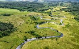 La River Valley, la vue supérieure du bourdon Photos stock