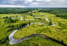 La River Valley, la vue supérieure du bourdon Images libres de droits