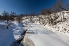 La rivière d'hiver avec la neige photos libres de droits