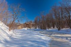 La rivière d'hiver avec la neige photo libre de droits