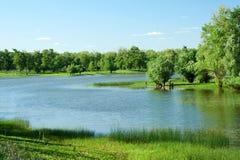 La rivière d'Ural kazakhstan Région d'Ouest-Kazakhstan photographie stock libre de droits