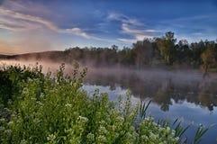 La rivière dans la brume à l'aube Photos stock