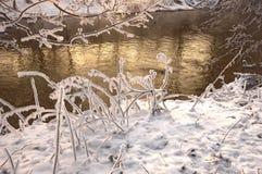 La rivière dans le jour givré images stock