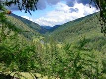 La rivière dans les collines du Sikhote-Alin Le ruban bleu de la rivière de la taille des montagnes Une rivière de taiga photos libres de droits