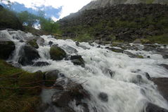 La rivière de montagne dans les montagnes Courant par la gorge la rivière Pierres et terre rocheuse près de la rivière Belle mont photographie stock libre de droits