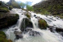 La rivière de montagne dans les montagnes Courant par la gorge la rivière Pierres et terre rocheuse près de la rivière Belle mont photos libres de droits