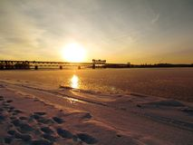 La rivière en hiver Photos libres de droits