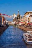 La rivière en ville, bord de mer, bateaux Photographie stock