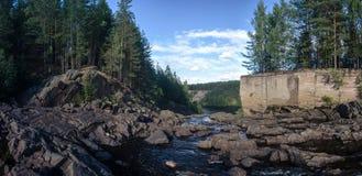 La rivière et la forêt sur la plage, panorama Photos libres de droits