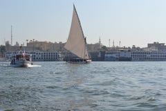 La rivière le Nil La voie d'eau principale de l'Egypte Photographie stock libre de droits