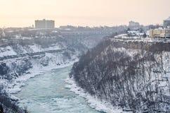 La rivière Niagara en hiver, Etats-Unis photos libres de droits