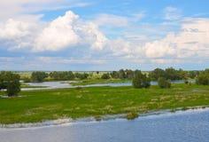 La rivière verdit le ciel avec des nuages et des arbres Photo stock